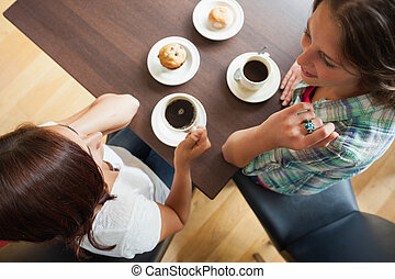Two students having a cup of coffee