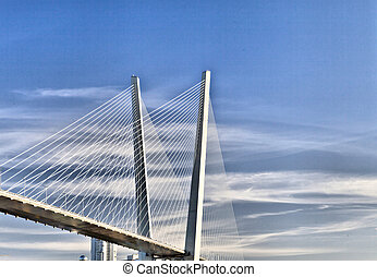 Big suspension bridge over the sea in the middle of the big...