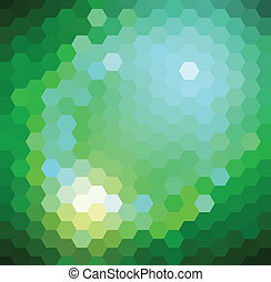 Green Hexagonal Pattern - Vector background with shiny green...