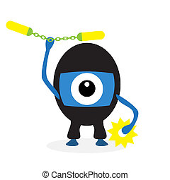 Cartoon ninja cyclops isolated on white background