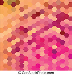 Purple and orange hexagonal pattern - Vector background with...