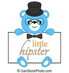 Cartoon bear hipster