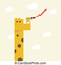 A man with telescope on giraffe looking for direction growth...