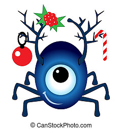 Cartoon Christmas Cyclops isolated on white background