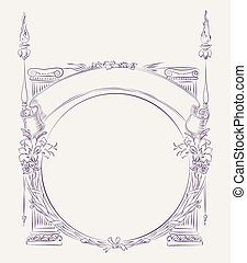 Ancient style border - Hand drawn vintage style border with...