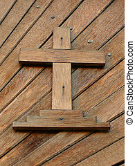 Wooden cross - Detail cross inlayed in wooden door