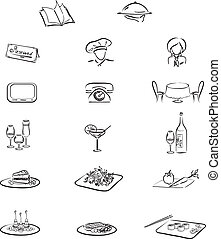 Set from 17 elements for restaurant or cafe - Icons: chef,...