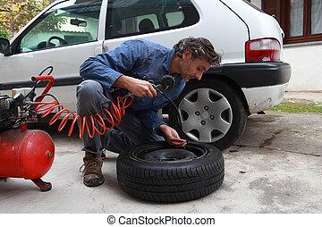 壓力, 檢查, 輪胎