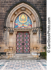 Side entrance of Vysehrad cathedral, Prague, Czech Republic