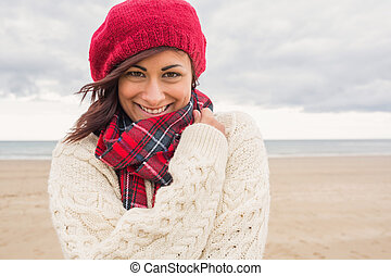 Cute smiling woman in stylish warm - Close up of a cute...