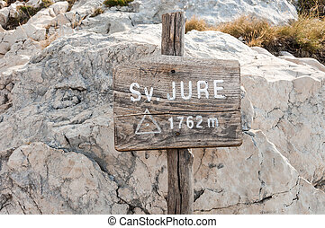 Sv Jure sign - Sv Jure peak sign in Biokovo mountains,...