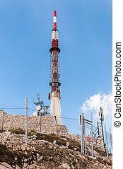 Communication tower on sveti Jure peak in Biokovo mountains