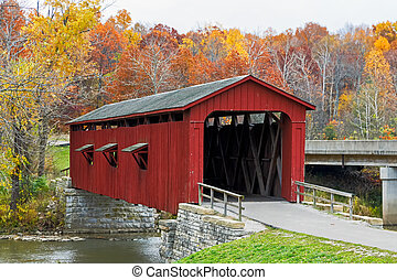 Cataract Covered Bridge and Fall Foliage - Indianas Cataract...