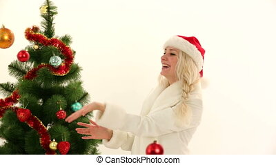 New Years costume party - Woman dressed as Santa on New...