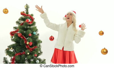 Christmas costume party - Woman dressed as Santa on...