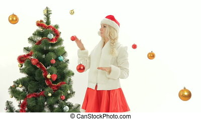On a costume party - Woman dressed as Santa spending time on...