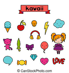 Set of decorative design elements kawaii doodles
