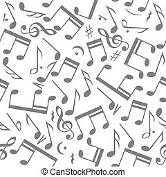 Seamless music notes background - Black music notes on white...