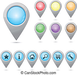 Map markers - Set of map markers empty and with icons eps10