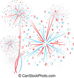 Firework outline - Big red and blue fireworks on white...