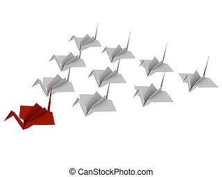 Flock of birds made from paper Origami 3d render Isolated on...