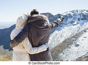 amoroso, pareja, piel, capucha, chaquetas, Mirar, nevado,...