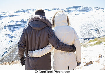 Couple in jackets looking at snowed mountain range - Rear...