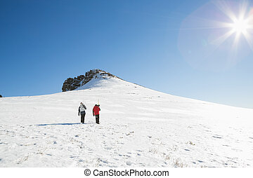 Skiers walking on snow on a sunny day - Rear view of a...