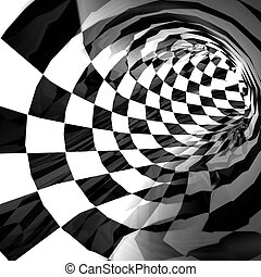 Tunnel - Chess-textured tunnel. Abstract background. 3d...