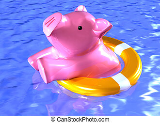 Financial rescue - Illustration of a piggy bank being...