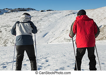 Rear view of a couple with ski poles on snow covered...