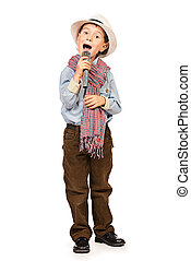 singing boy - Full length portrait of a cute boy singing...