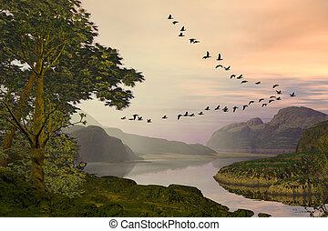 Birds Flying Over Landscape