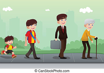 Evolution or aging concept - A vector illustration of a...