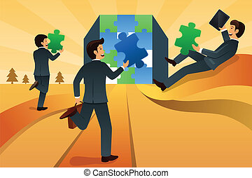 Business teamwork concept - A vector illustration of...