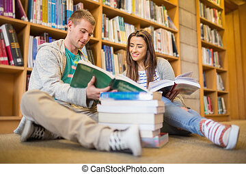 Students reading books on library f - Two young students...