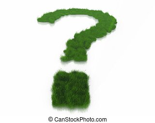 a question mark and grass