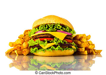 burger and french fries - junk food burger and french fries...