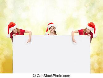 ajudante, chapéus, tábua,  santa, em branco, crianças
