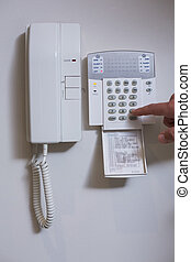 Wall phone and list of numbers