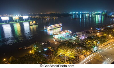 SAIGON RIVER AT NIGHT - HO CHI MINH CITY - VIETNAM