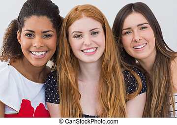 Close up portrait of cheerful female friends - Close up...