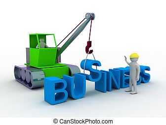 3d man working with crane constructing business - 3d man...