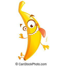 Crazy cartoon yellow banana fruit character go bananas -...