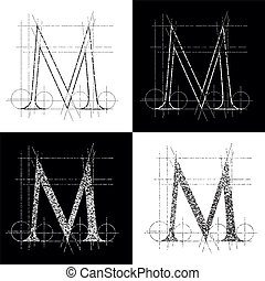 kapitale M - dekorative symbol M, vector illustration, clip...