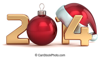 Felice, nuovo, anno, 2014, Natale, Palla