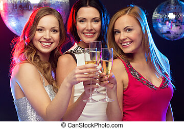"three smiling women with champagne glasses - ""new year"",..."