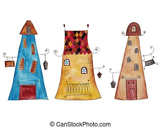 historic cartoon buildings - Artistic work, ink and...