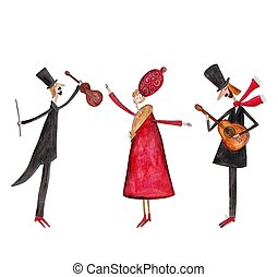 Violinist, dancer and guitarist. - Artistic work, ink and...