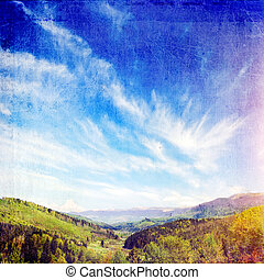 Mountains with green forest landscape  in Carpathians